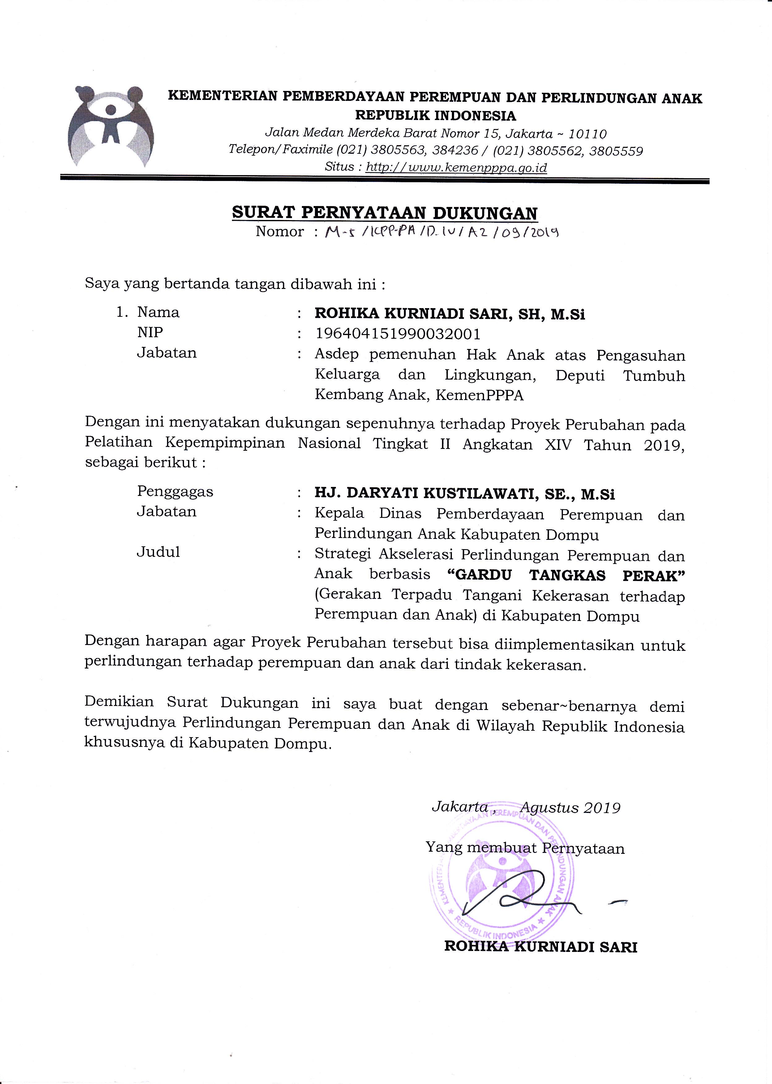 Surat Pernyataan Dukungan Asdep Pha Kemen Pppa Kla